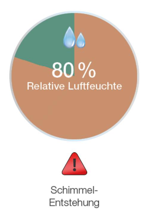Schimmelentstehung bei 80 Prozent Luftfeuchtigkeit im Wohnräumen