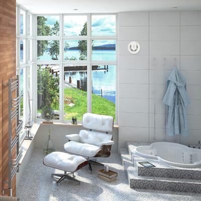Abluftgerät inVENTer Pulsar im Badezimmer